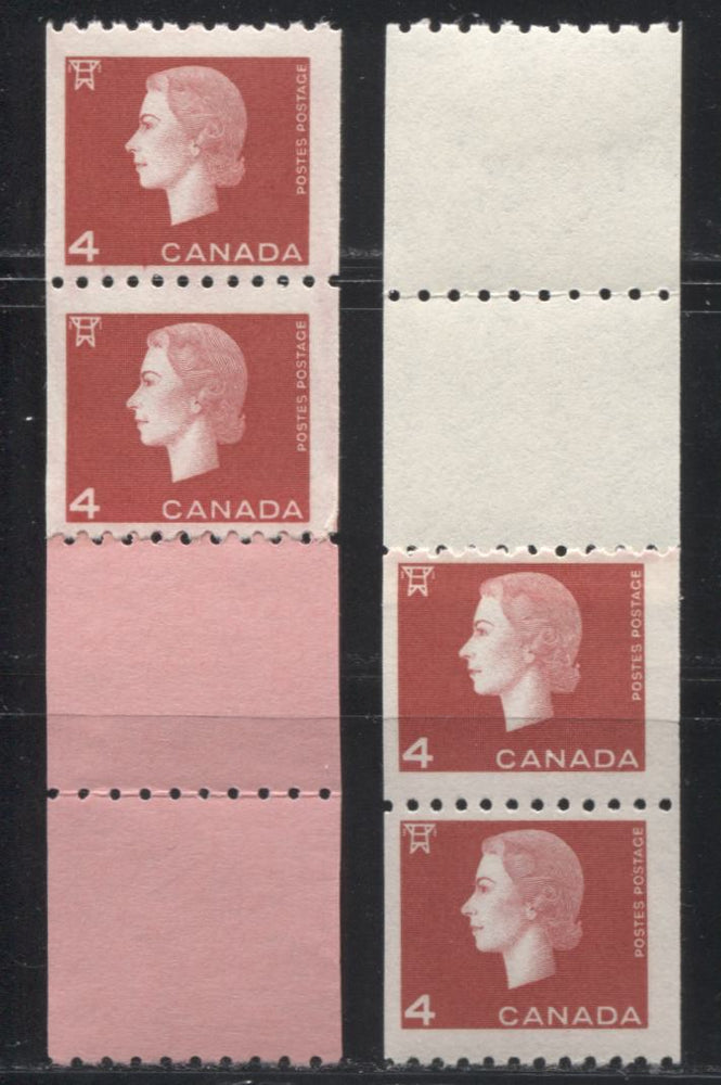 Canada #408 4c Carmine Queen Elizabeth II, 1962-1967 Cameo Issue, FNH Start and End Strips on Vertical Wove Paper with Smooth Gum