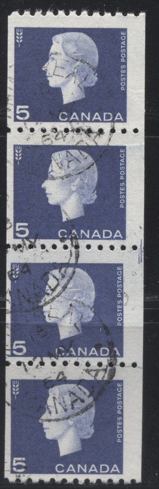 Canada #409ii 5c Violet Blue Queen Elizabeth II, 1962-1967 Cameo Issue, A Fine Used Strip of 4 Cutting Guideline on Horizontal Wove Paper with Smooth Gum