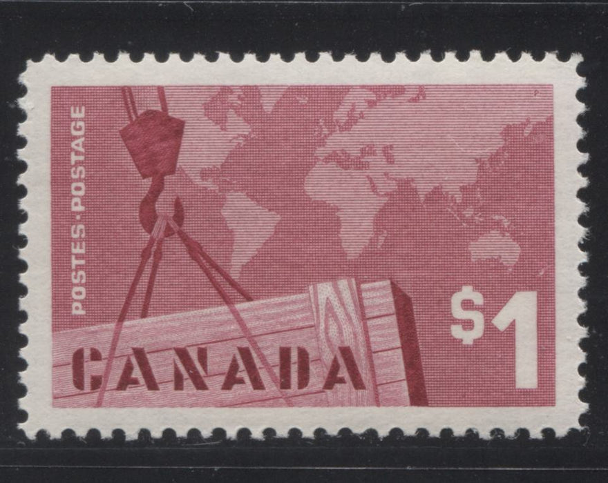 Canada #411 $1 Carmine Rose Exports, 1962-1967 Cameo Issue, a VFNH Single DF Grayish Violet Horizontal Wove Paper, Smooth Cream Gum, Perf. 11.95