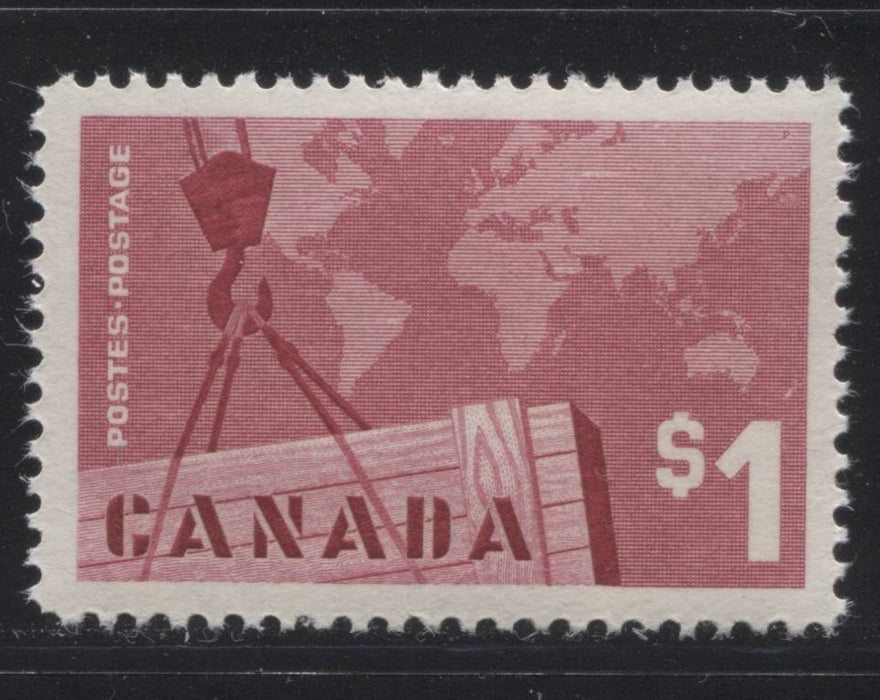Canada #411 $1 Carmine Rose Exports, 1962-1967 Cameo Issue, a VFNH Single DF Horizontal Wove Paper, Smooth Cream Gum, Perf. 12x11.95