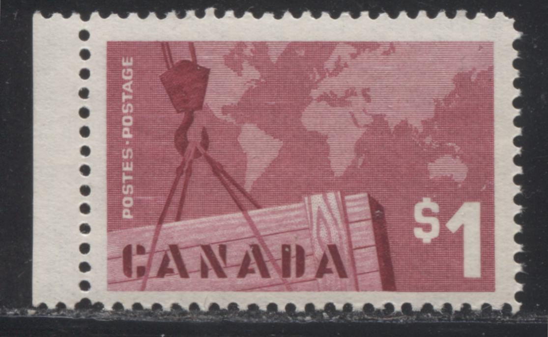 Canada #411 $1 Carmine Rose Exports, 1962-1967 Cameo Issue, a FNH Single DF Grayish Violet Ribbed Vertical Wove Paper, Smooth Cream Gum, Perf. 12