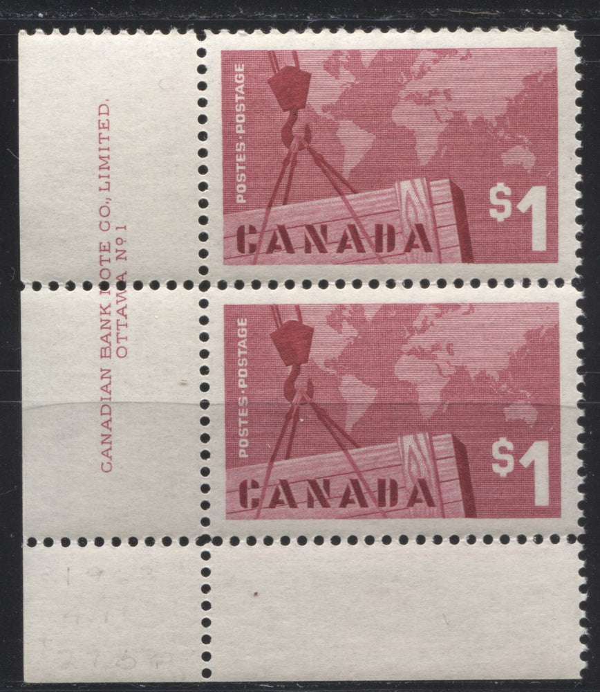 Canada #411 $1 Deep Carmine Rose Exports, 1962-1967 Cameo Issue, a VFNH LL Plate 1 Pair, DF Ivory Horizontal Wove Paper, Smooth Gum, Perf. 11.9