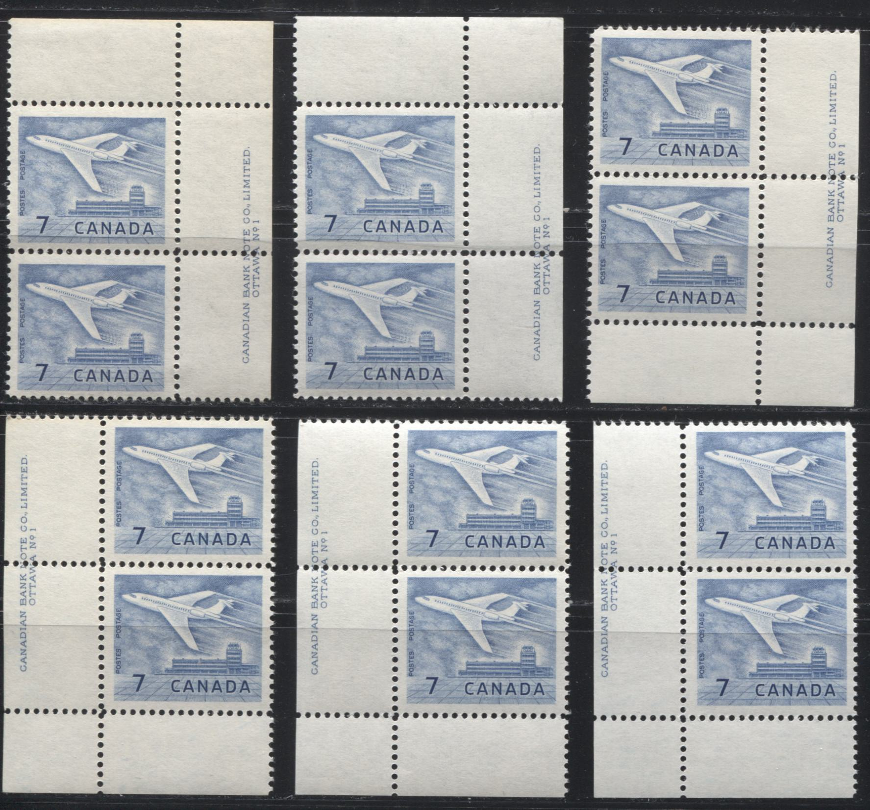 Canada #414 7c Dull Blue Jet Plane, 1962-1967 Cameo Issue, Specialized Lot of 6 VFNH Plate 1 Inscription Pairs, Different Papers, and Perfs