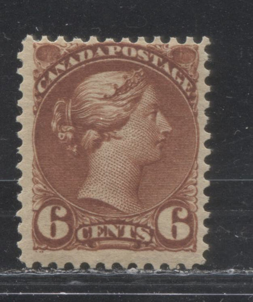 Canada #43 6c Red Brown Queen Victoria 1870-1897 Small Queen Issue, a Fine OG Example of the Second Ottawa Printing, Perf. 12