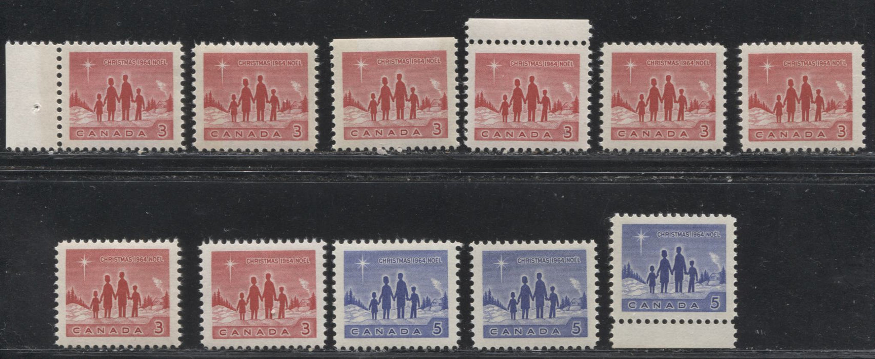 Canada #434-435piii 3c Red And 5c Blue 1964 Christmas Star Of Bethlehem Issue, A Selection of VFNH Stamps, Representing Most of the Unitrade Listed Varieties