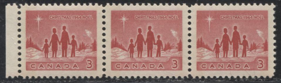 Canada #435pii 1964 Christmas Issue, Left Marginal Strip of 3 of the 3c Deep Red With Wide and Narrow Tagging Bars on Dull Fluorescent Paper