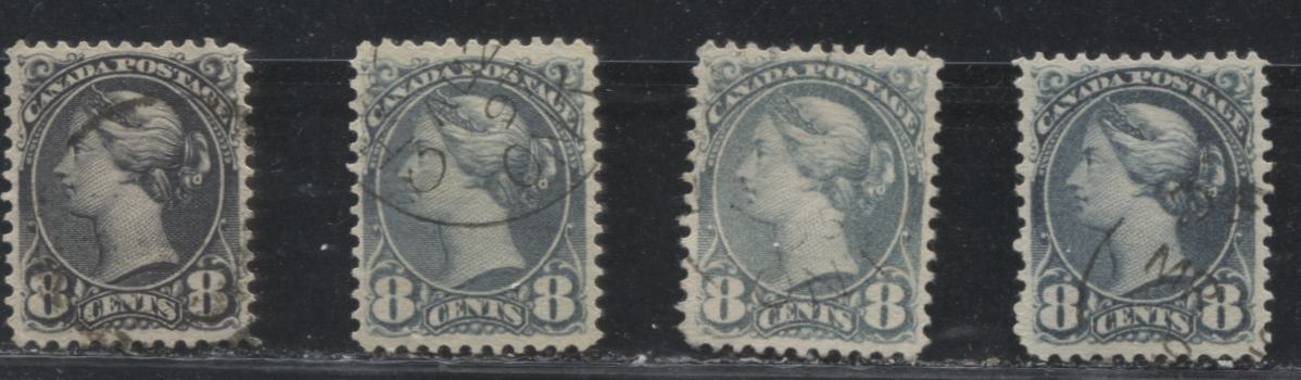 Canada #44-b 8c Violet Black, Blue Grey & Slate Queen Victoria, 1870-1897 Small Queen Issue, Four Very Fine Used Examples