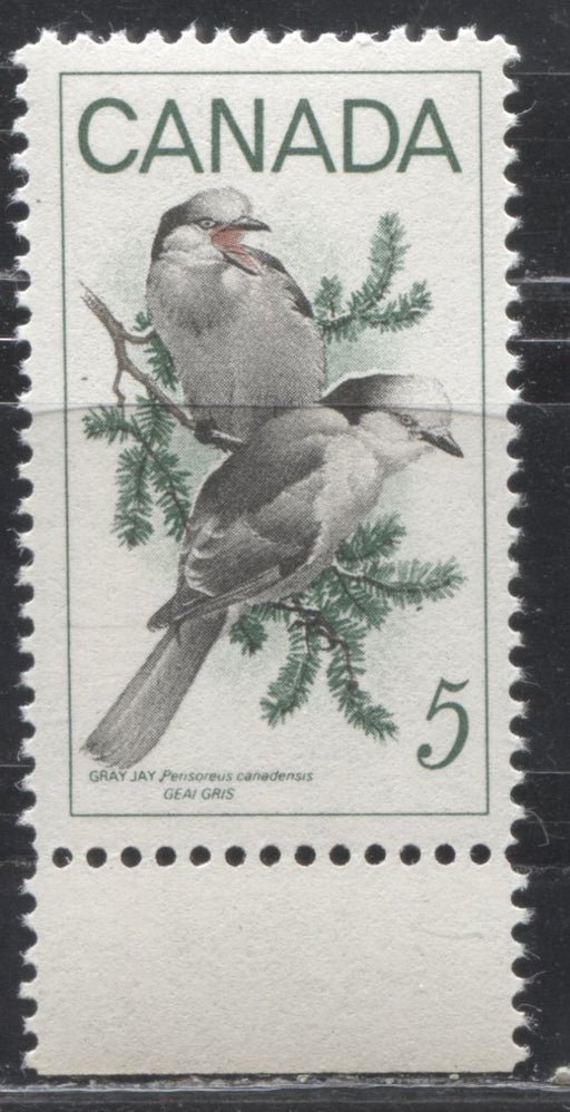 Canada #478i (SG#620) 5c Green, Black And Red 1968 Gray Jays a Very Fine Mint NH Example of the Scarce Pine Cone Seed Variety