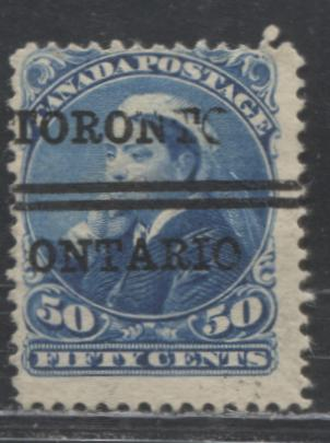 "Canada #47xx 50c Dark Blue Queen Victoria ""Widow's Weeds"", 1870-1897 Small Queen Issue, A VG Used Example of the Toronto Bar Precancel With Incomplete Letters, Unlisted in Walburn"