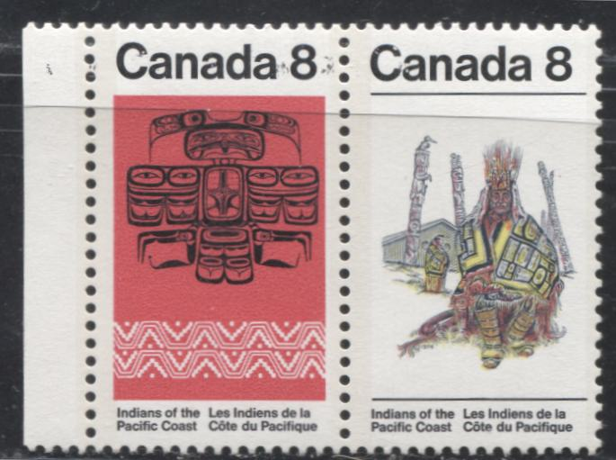 Canada #573a 8c Multicoloured 1974 Pacific Coast Indians Issue, A VFNH Pair on LF-fl Paper, Showing Partial Ghost Print of Black Inscription