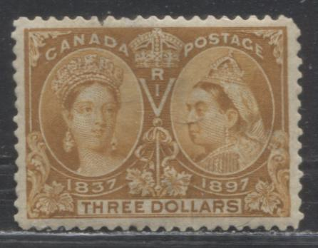 Canada #63 $3 Yellow Bistre Queen Victoria, 1897 Diamond Jubilee Issue, A Presentable Good Regummed Example
