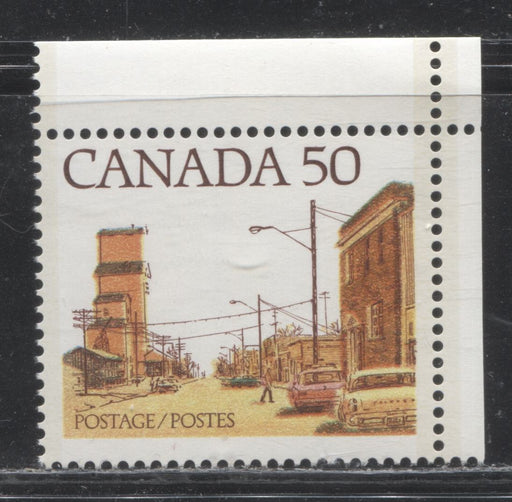 Canada #723Aiii 50c Multicoloured, Prairie Street Scene, 1977-1982 Floral and Environment Issue, A VFNH Example of the Dented Bumper Variety