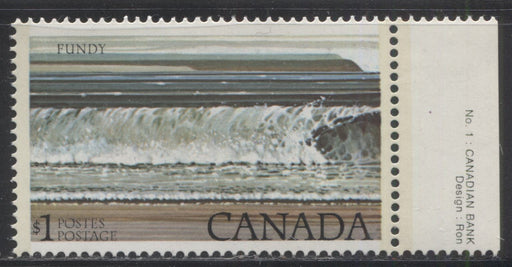 Canada #726var  $1 Multicoloured Fundy National Park 1977-1982 Floral and Environment Issue, Tagged and Unlisted Black Printed Twice, Once Albino