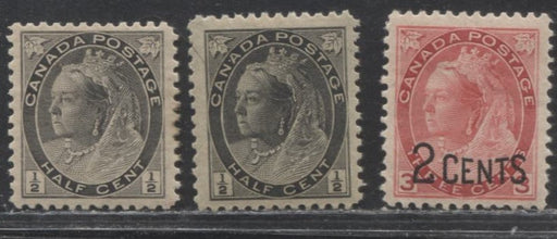 "Canada #74, 74i & 88 1/2c Black, 1/2c Grey and  2c on 3c Bright Carmine-Red 1898-1902 Numeral Issue, Fine and VFOG Examples of Different Printings and ""Slit Throat"" on one 1/2c"