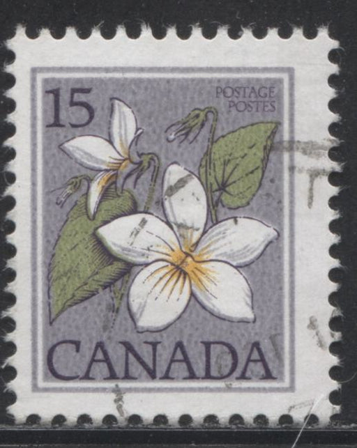 Canada #787T2 15c Multicoloured Canada Violet, 1977-1982 Floral & Environment Issue, a Fine CDS Used Example Showing the Scarce 1 Right Tag Bar (G2aR)