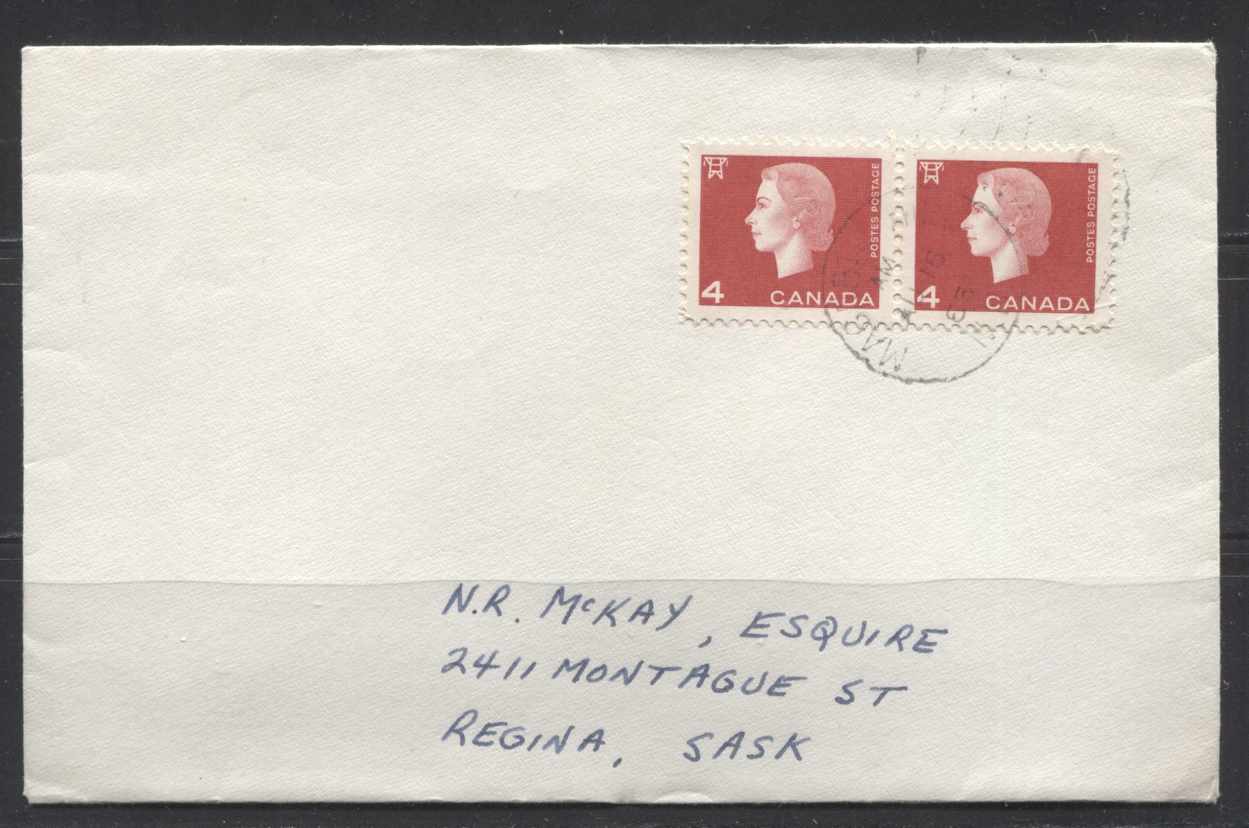 Canada #404 4c Bright Red 1962-1967 Cameo Issue, Pair Used on Double Weight Domestic Cover