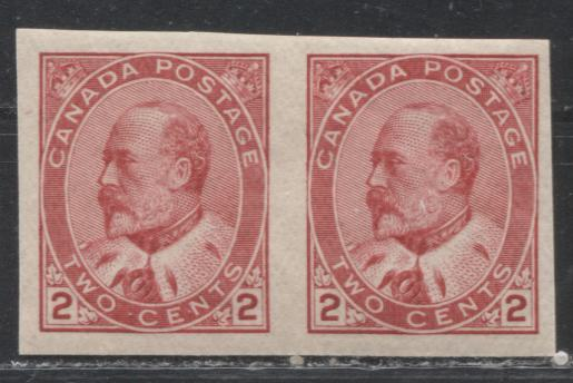 Canada #90A 2c Carmine Rose King Edward VII, 1903-1911 King Edward VII Issue, a VFNH Imperforate Pair