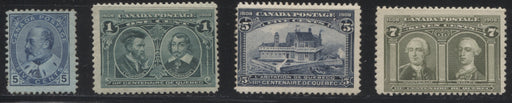 Canada #91/100 1903-11 King Edward VII - 1908 Quebec Tercentenary Issue, A Group of 4 VG and Fine Mint Regummed Stamps