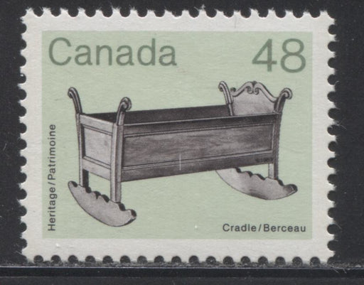 Canada #929var  48c Black and Apple Green Cradle 1982-1988 Artifacts and National Parks Issue, Potential Error of Colour, VFNH