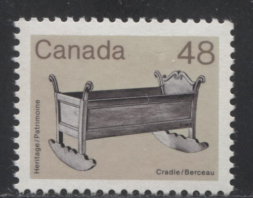 Canada #929var  48c Black, and Grey Brown Cradle 1982-1988 Artifacts and National Parks Issue, Colour Changeling, VFNH