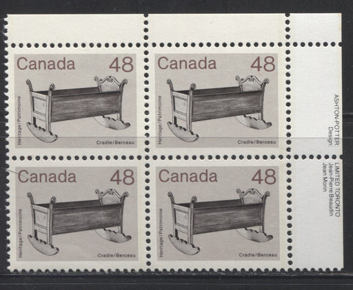 Canada #929var  48c Black, Violet Brown and Pale Brown Purple Cradle 1982-1988 Artifacts and National Parks Issue, a VFNH UR Inscription Block of an Unusual Shade
