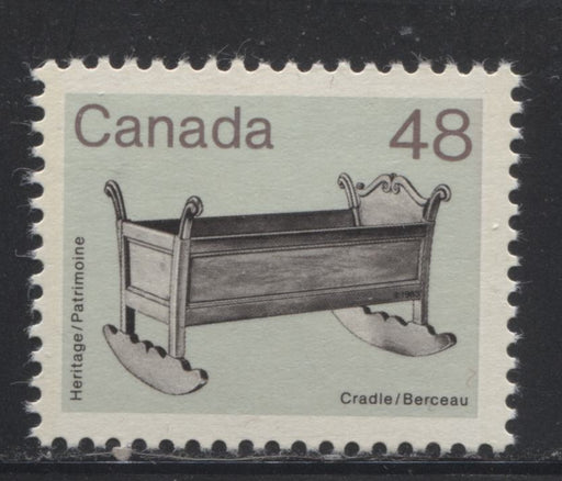 Canada #929var  48c Black, Brown  and Dull Green Cradle 1982-1988 Artifacts and National Parks Issue, Colour Changeling, VFNH