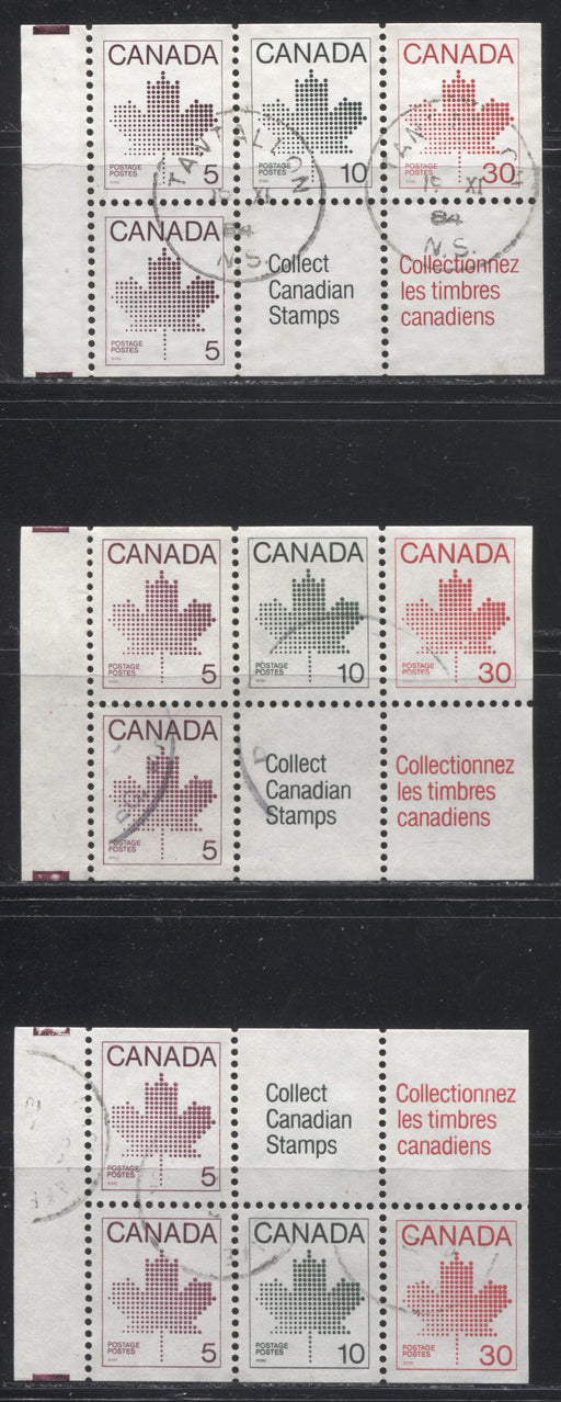 Canada #945a, 945ai, 945ax 5c Purple - 30c Scarlet Maple Leaf, 1982-1988 Artifacts and National Parks Issue, 3 VF Used Booklet Panes on Various Papers