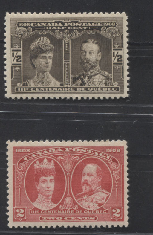 Canada #96, 98 1/2c Brown Black and 2c Carmine Rose Quebec Tercentenary , Very Fine OG Examples