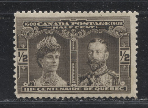 Canada #96 (SG#188) 1/2c Brown Black Quebec Tercentenary , A Fine Mint NH Example With the Major Re-Entry