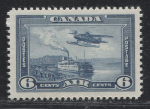 Canada #C6 6c Steel Blue Monoplane over MacKenzie River, 1938-1942 Mufti Issue, A VFNH Example on Vertical Wove Paper With White Gum