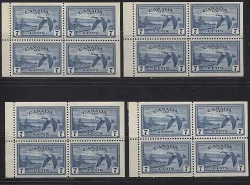 Canada #C9a 7c Deep Prussian Blue Canada Goose, 1946-1951 Peace Issue, A Group of 4 VFNH Booklet Panes of 4, With Different Staple Widths, and Shades