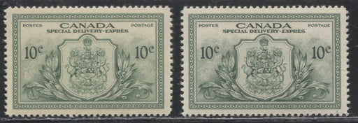 Canada #E11 1946-1950 Peace Issue - Two VF NH Special Delivery Stamps, Both Printed in Different Shades, On Different Papers, With Different Gums