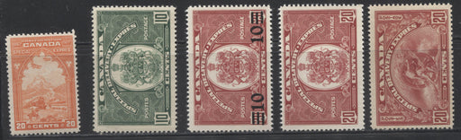Canada #E3, E6-E9  20c Reddish Orange - 20c Carmine Red 1927-1939 Special Delivery, A Group of 5 Fine NH Stamps
