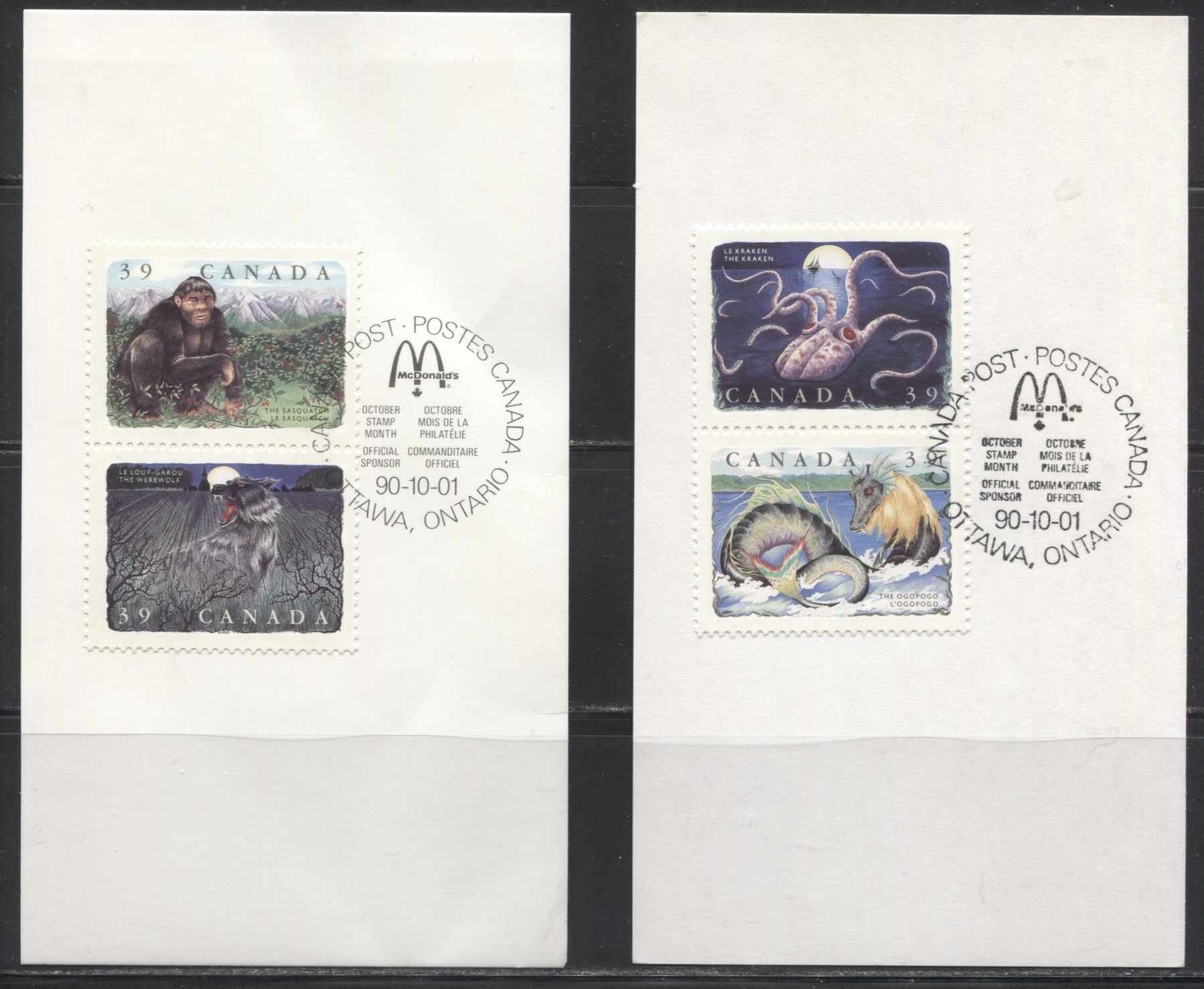 Canada #1292a-d 39c Multicoloured, 1990 Legendary Creatures Issue, Two Souvenir Cards Franked With Examples of the Scarce Perf. 12.5 x 12