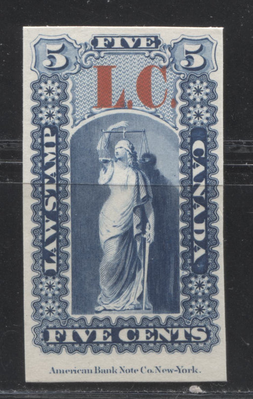 Quebec #QLP1 5c Deep Blue and Carmine Red, Justice and Scales, 1864 Law Issue Overprinted L.C., EF Plate Proof on India Paper