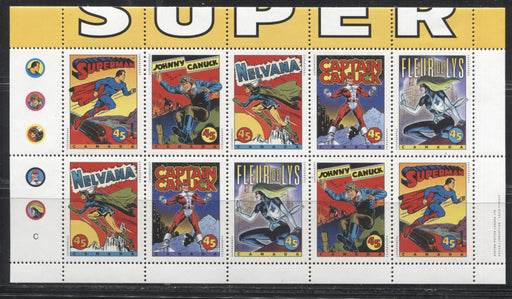 Canada #1583bi 45c Multicoloured 1995 Comic Book Superheroes Unfolded Booklet Pane of 10 From the Quarterly Pack. Very Fine NH