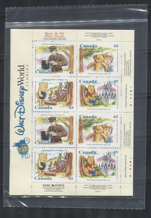 Canada #1621c (B194) 45c Multicoloured 1996 Winnie The Pooh Booklet Pane of 16 . Very Fine NH in a Sealed Pack