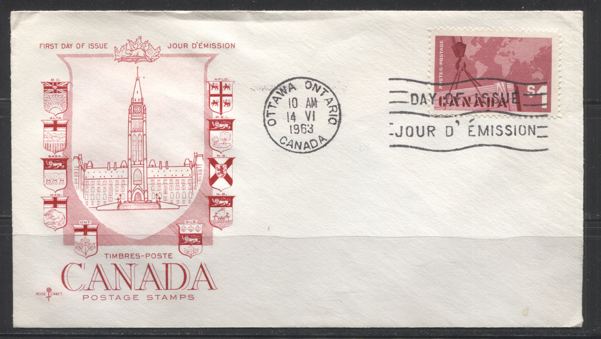 Canada #411 $1 Rose Carmine Export, 1962-67 Cameo Issue, First Day Cover