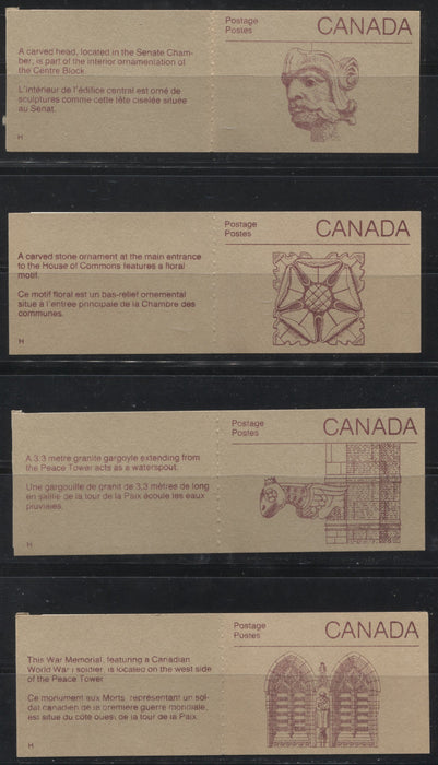 Canada #BK100a-b (McCann BK100Fa-Gb) 1988-1991 Wildlife and Architecture Issue, A Group of 8 50c Vending Machine Booklets With Different Cover Types and Pane Fluorescences, All VF