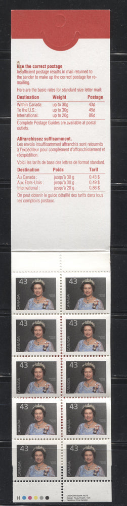 Canada #BK155Ab (McCann #BK155Ab) 1991-1998 Fruit & Flag Issue, a VFNH $4.30 Booklet Containing 43c Queen Elizabeth II, High Fluorescent Uncoated Open Cover, 3 Overlapping Stamps, Xpresspost Ad on Back, Harrison Paper, Tab Inscriptions