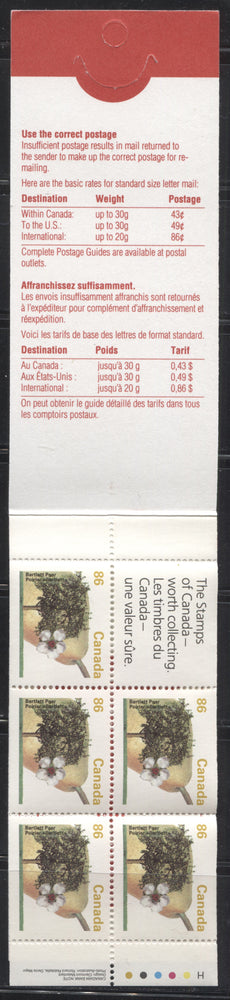 Canada #BK157Ad (McCann #BK157Ad) 1991-1998 Fruit & Flag Issue, a VFNH $4.30 Booklet Containing 86c Bartlett Pear, High Fluorescent Open Cover, 4 Overlapping Stamps, Xpresspost Ad on Back, Tab Inscriptions & Tag Bar on Label
