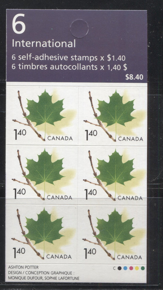 Canada #BK283 1999-2003 Trades & Wildlife Issue, a VFNH $8.40 Booklet Containing $1.40 Maple Leaf, NF/HF TRC paper