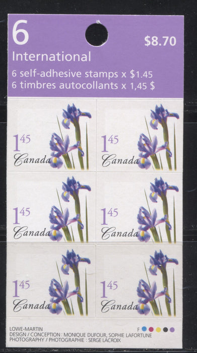 Canada #BK304c 2004-2010 Floral and Flag Issue, A VFNH $8.70 Booklet Containing $1.45 Purple Dutch Iris, Lowe Martin Printing on NF TRC Paper, HF Cover, Erroneous F Paper Designation