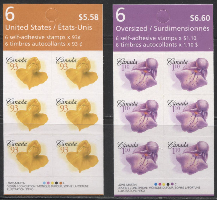Canada #BK343-344 2004-2010 Floral & Canadian Pride Definitives, Complete $5.58 & $6.60 Booklets, Dead Paper, Smeary, Washed Out 4 mm GT-4 Tagging That is Tripled