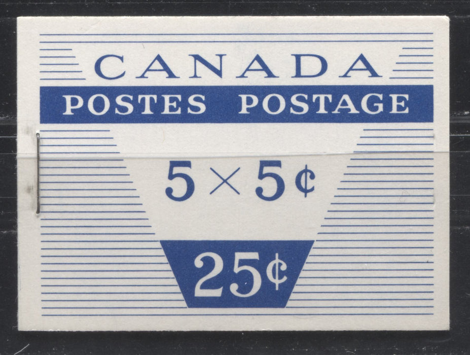 Canada McCann #BK52b (Unitrade #BK52b) 1962-1967 Cameo Issue, a VFNH Booklet Containing A 5c Pane of 5 + Label, Type II Cover, DF Grayish White Cover, DF Pane, HB Interleaving, 13mm Staple