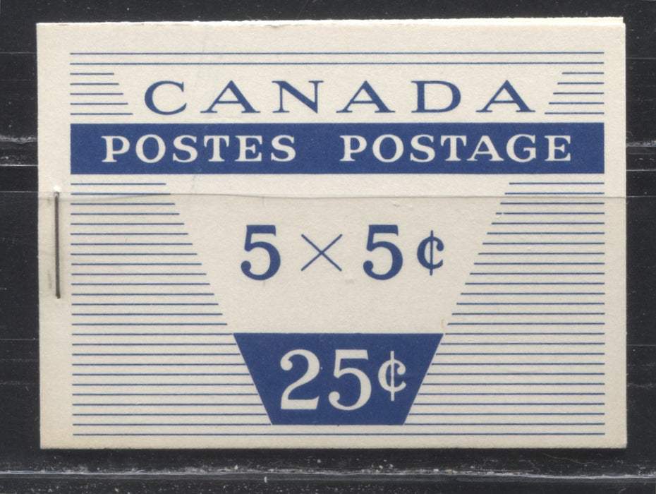 Canada McCann #BK52c (Unitrade #BK52c) 1962-1967 Cameo Issue, a VFNH Booklet Containing A 5c Pane of 5 + Label, Type III Cover, DF Cream Front Cover, DF-FL Cream Back Cover, DF Pane And Interleaf