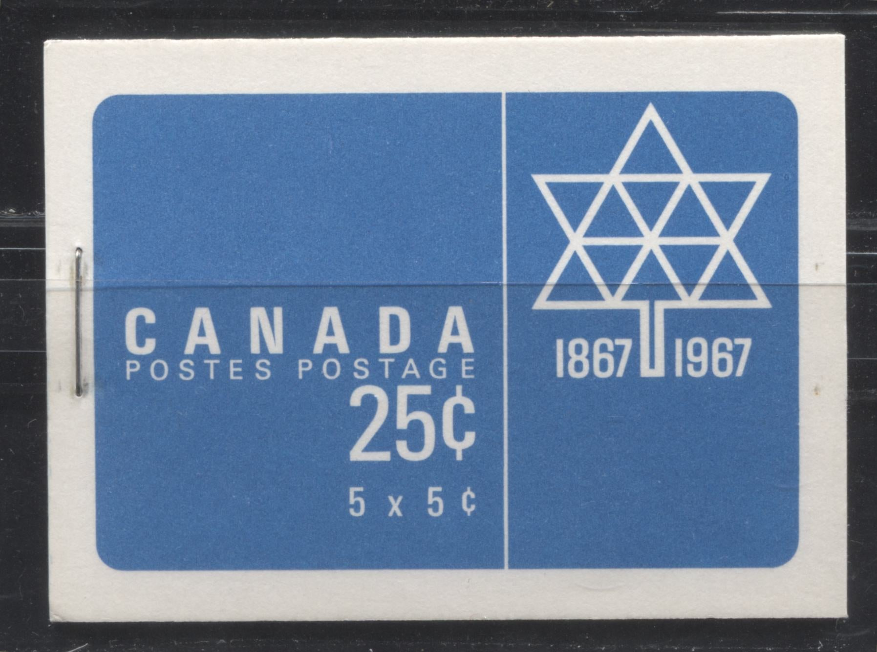 Canada McCann #BK52g (Unitrade #BK52e) 1962-1967 Cameo Issue, a VFNH Booklet Containing A 5c Pane of 5 + Label, Centennial Cover LF-FL Grayish White Front Cover, DF-FL Grayish White Back Cover, DF Pane, HF Interleaf