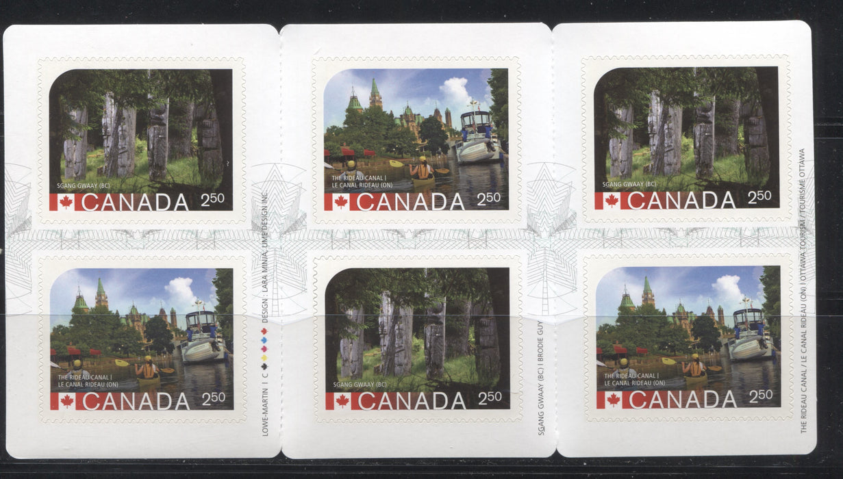Canada #BK585 2014-2017 UNESCO Sites Issue, a VFNH $15 Booklet Containing $2.50 Sgang Gwaay & the Rideau Canal, Hibrite Cover