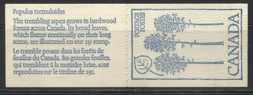 "Canada #BK80b 1977-1982 Floral and Environment Issue, Complete 50¢ Booklet, DF Cover, DF/LF-fl 70 mm Pane, 3.5 mm Tagging, ""Broken 1"""