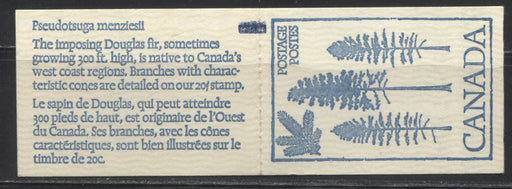 Canada McCann #BK80var 1977-1982 Floral and Environment Issue, Complete 50¢ Counter Booklet, DF Cover, DF/LF-fl 70 mm Pane, 3.5 mm Tagging